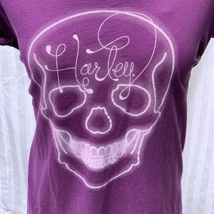 Auth. Harley-Davidson Purple Graphic Skull Shirt